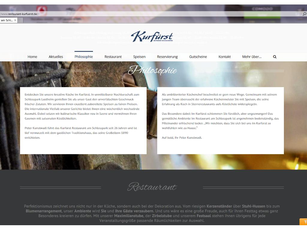 Webtexte für das Restaurant Kurfürst am Schlosspark